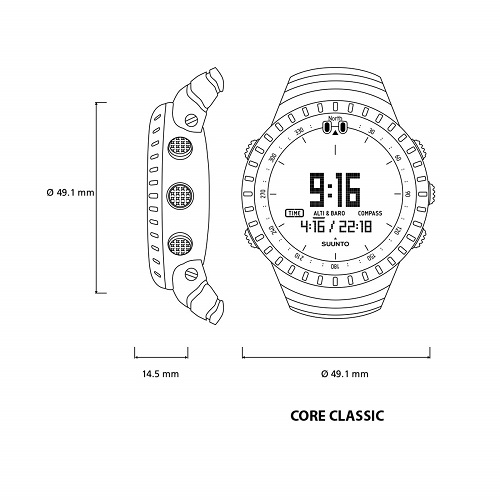 Medidas Suunto Core All Black